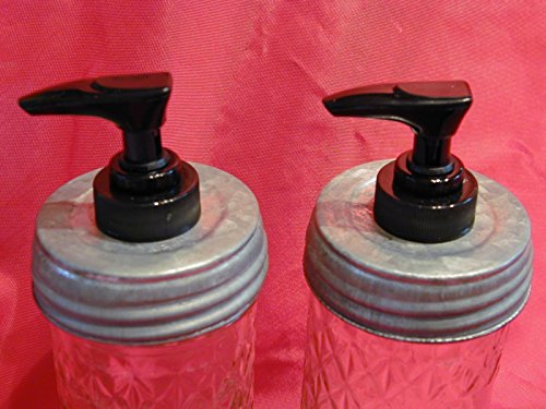 (2) Lined regular/standard opening Galvanized Lid with Black Pump (Double Pack) - Mason Jar Lotion/Soap dispenser Converter, Lid & Pump (Homemade Decor)