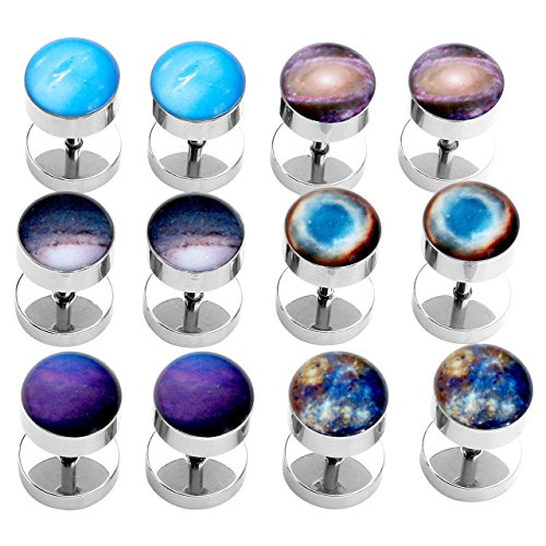 PiercingJ 2-12pcs 16G Solar System Galaxy Universe Stainless Steel Stud Barbell Earrings Illusion Ear Plug 0G Gauge Look
