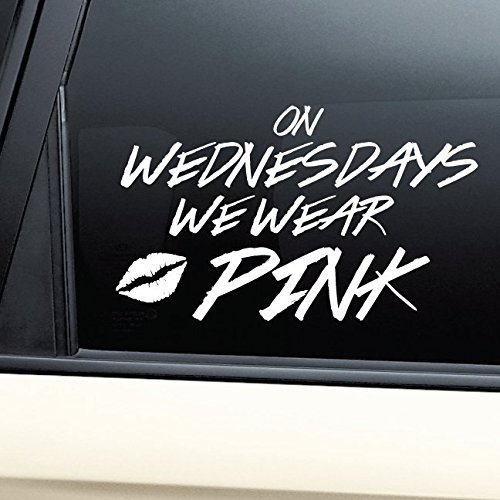 On Wednesdays We Wear Pink Vinyl Decal Laptop Car Truck Bumper Window - Lindsay Glasses Lohan