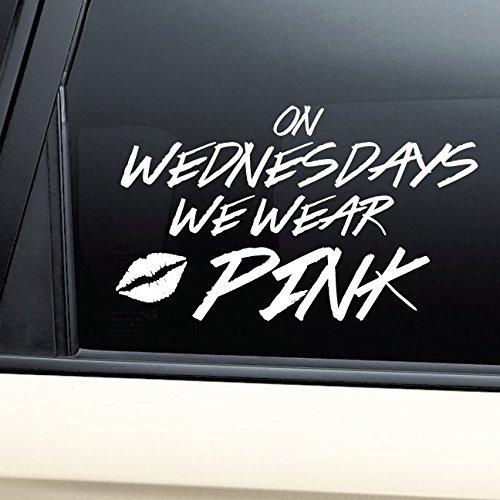 On Wednesdays We Wear Pink Vinyl Decal Laptop Car Truck Bumper Window - Lindsay Lohan Glasses