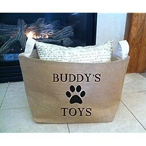 Personalized Dog Toy burlap storage tote
