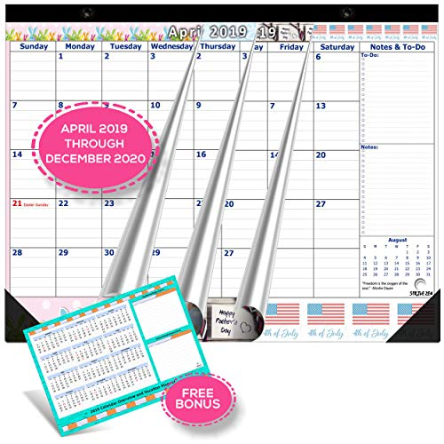 Magnetic Calendar 2019-2020 for Fridge by StriveZen, 17x12 inch, Large Monthly Apr 2019- Dec 2020, Strong Magnets for Refrigerator, Academic, Bonus 2019 Planner, Holiday Theme, eBook on ()