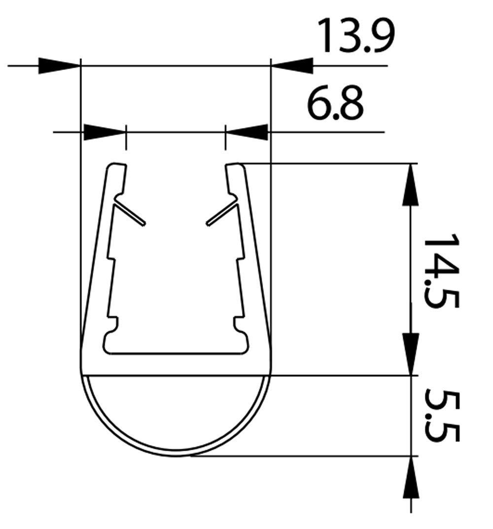 Perfil Junta a globo para Box ducha grosor cristal 8/ /10 /10/mm longitud 2500/mm 8pt1/