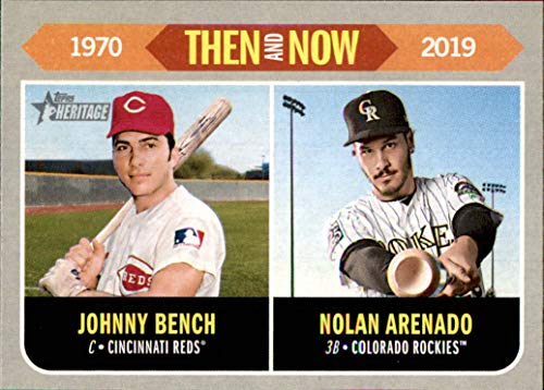 Johnny Bench Memorabilia - 2019 Topps Heritage Then and Now #TN6 Johnny Bench Nolan Arenado REDS ROCKIES    (Box176MP)