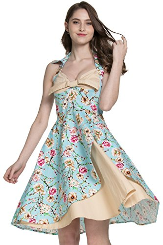 Samurai JP 1950s - 1960s Retro Classy Party Dresses for Women (Audrey & Rockabilly Series/Floral) with Original Flower Hair Clip (US XXS-XS Size (Asia S), Floral Tiffany Blue/Ochre Beige)