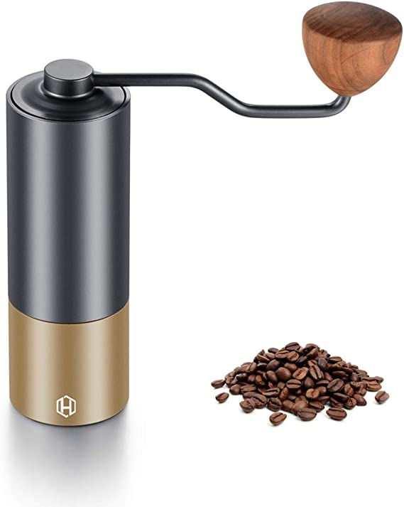 Coffee Hand Grinder - Heihox Manual Grinder Steel Burr with Adjustable Setting