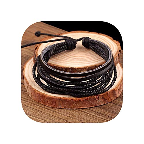 tthappy76 100% Hand-Woven Fashion Jewelry Wrap Multilayer Leather Braided Rope Wristband Men Bracelets & Bangles for Women,Gold-Color
