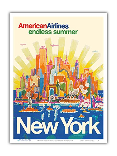 New York - American Airlines - Endless Summer - Vintage Airline Travel Poster by Harry Bertschmann c.1971 - Master Art Print - 9in x 12in (1971 Poster Print)
