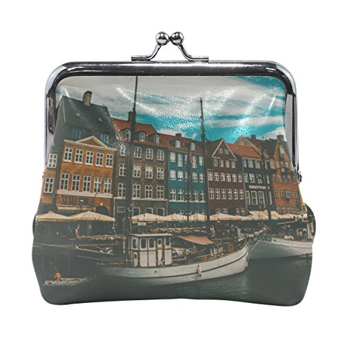 Rh Studio Coin Purse Women Boats Buildings Sea Print Wallet Exquisite Clasp Coin Purse Girls Clutch Handbag