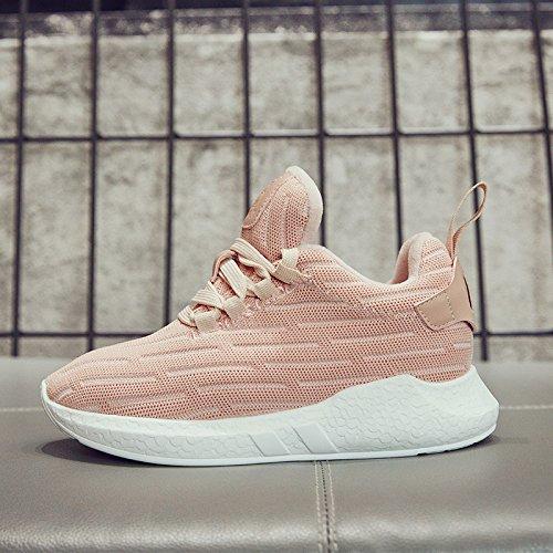 NGRDX&G Zapatos De Mujer Zapatos De Punto De Mujer Zapatos Deportivos Transpirables The pink thick