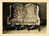 1897 Collotype Oak Settee Charles Period Furniture Mortlake Tapestry Forde Abbey - Original Collotype