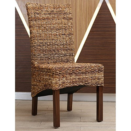 International Caravan SG-3302-2CH-IC Furniture Piece Gaby Woven Banana Dining Chair (Set of 2) (Chair Dining Bali)
