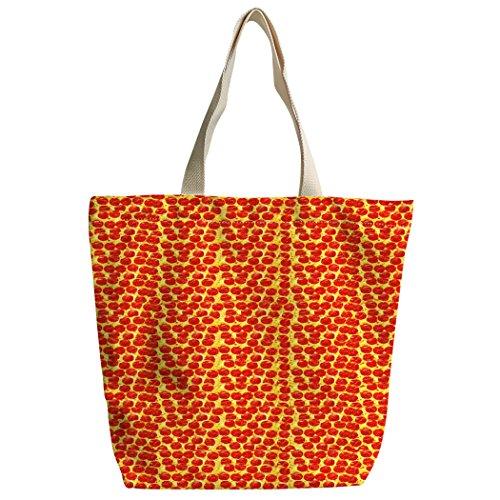 Violetpos Benutzerdefiniert Canvas Handtasche Einkaufstaschen Umhängetasche Schultasche Lustiger Roter Pizza Punkt Schinken I0Oar