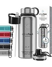 Drinkfles RVS Thermosfles ACTIVE FLASK + Strohalm (3 Drinkdoppen), BPA-Vrij + Lekvrij | 1 Liter/500 ml Isoleerfles, Vacuüm Waterfles Sport Fitness Fietsen Water Fles Kinderen Waterbidon Sportbidon