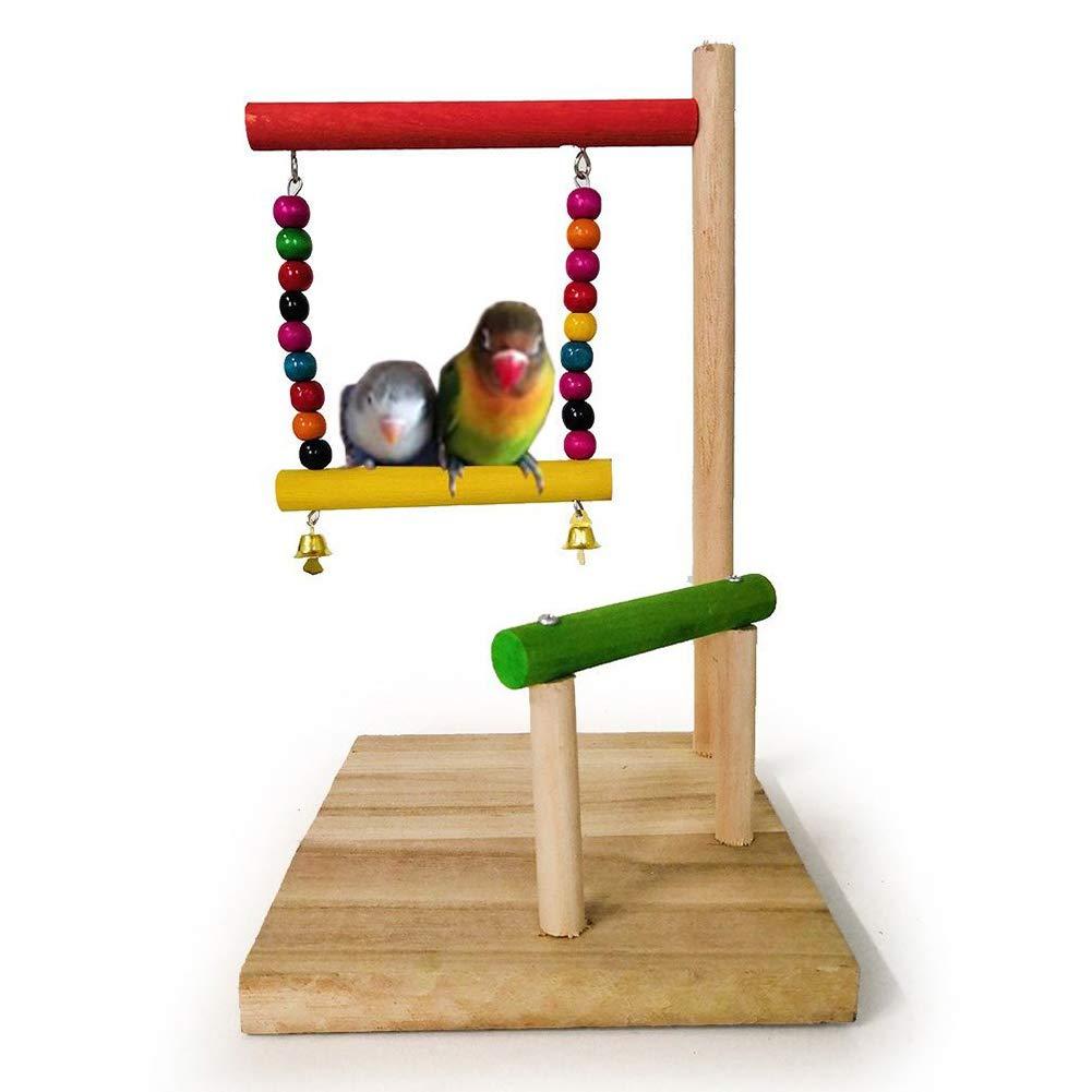 Amazon.com : Shuohu Pet Cage, Wooden Parrot Hanging Swing ...