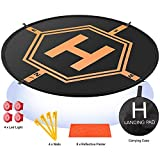 "Drone Landing Pad 4 LED Lights Included 32"" Aurtec Portable Fast-Fold RC Quadcopter Helipad for DJI Mavic Pro, Phantom 2 3 4 Pro, Inspire 2 1, Spark, Yuneec, 3DR Solo, GoPro Karma, Parrot & More"