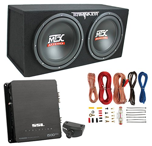 MTX 12″ 1200W Dual Loaded Car Audio Subwoofers with Box Enclosure Package