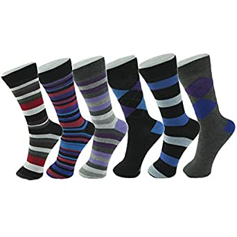 Alpine Swiss Men's Cotton 6 Pack Dress Socks Striped & Argyle Fun Color Pack