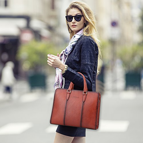 Banuce Vintage Full Grains Italian Leather Briefcase for Women Tote Handbag Attache Case 14 Inch Laptop Messenger Bag by Banuce (Image #6)