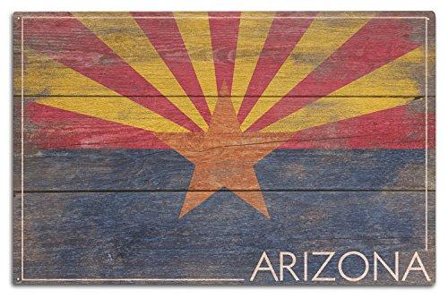 Lantern Press Arizona - Rustic State Flag (10x15 Wood Wall Sign, Wall Decor Ready to Hang)