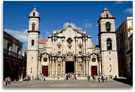 Premium lienzo textil 120 cm x 80 cm horizontal, catedral en Habana, Cuba, cuadro sobre bastidor, imagen sobre lienzo auténtico. de la Concepción Inmaculada (CALVENDO Orte);CALVENDO Orte