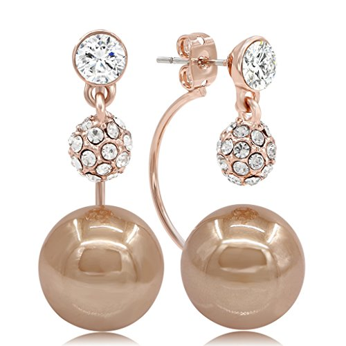 Kemstone Cubic Zirconia Dangle Earrings Chocolate Simulated Pearl Gold Plated Jewelry for Women