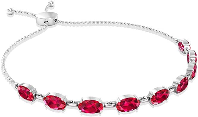Ruby bracelet sterling silver July birtstone jewelry July birthday gift for her Crystal ruby jewelry for women Gemstone womens bracelet