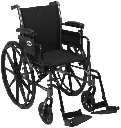 "Drive Medical Cruiser III Light Weight Wheelchair with Various Flip Back Arm Styles and Front Rigging Options, Black, 18"" (K318ADDA-SF)"