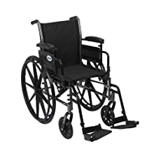 Drive Medical Cruiser III Light Weight Wheelchair with Various Flip Back Arm Styles and Front Rigging Options, Flip Back Removable Adjustable Height Desk Arms/Swing Away Footrests, Black, 20 Inch