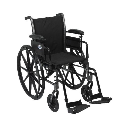 Drive Medical Cruiser III Light Weight Wheelchair with Various Flip Back Arm Styles and Front Rigging Options, 16 Inch