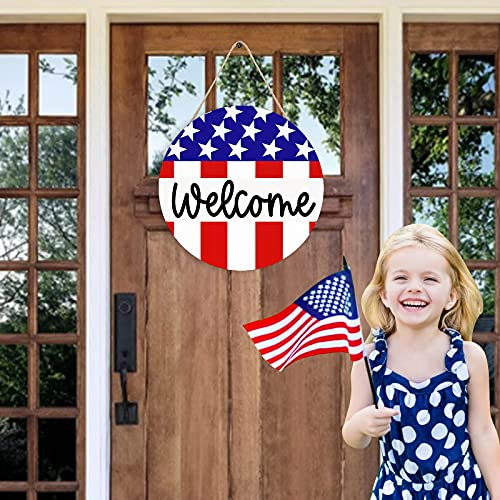 Patriotic Welcome Sign Front Door Round Wood Sign Hanging Welcome Wreaths, Independence Day Door Sign, Welcome Door Sign Wood Front Porch Decor Farmhouses for 4th of July (B)