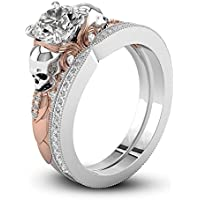 by lucky Two Tone White Sapphire Daisy Promise Skull Ring 925 Silver Women Jewelry (6)