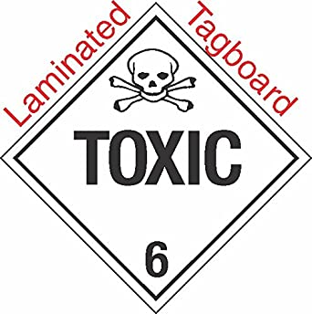 Standard Worded Toxic Class 6.2 Laminated Tagboard Placard PACK OF 50