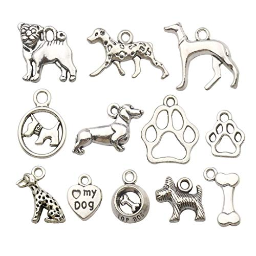 iloveDIYbeads 100g (70pcs) Craft Supplies Antique Silver Pet Dog Animals Charms Pendants for Crafting, Jewelry Findings Making Accessory for DIY Necklace Bracelet M152 ()