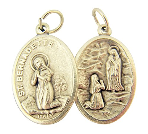 Our Lady Of Lourdes Medals - Silver Toned Base Saint Bernadette with Our Lady of Lourdes Medal, 1 Inch, Set of 2