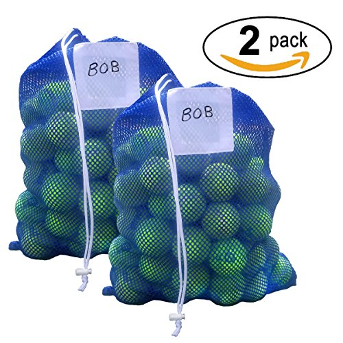 Dealz Large Tennis Ball Mesh Bag Tote – Holds Over 100 Tennis Balls (Balls Not Included) – 2 PACK