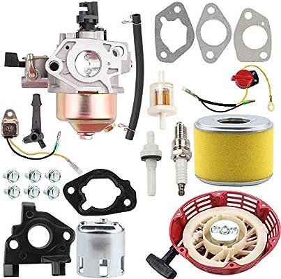 Tune Up Kit /& Starter Motor For Honda GX270 Carburetor Recoil Air /& Fuel Filter