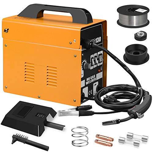 LYYNTTK MIG 130 Welding Machine Gas Less Flux Core Wire DIY Home Welder Automatic Feeding, Yellow