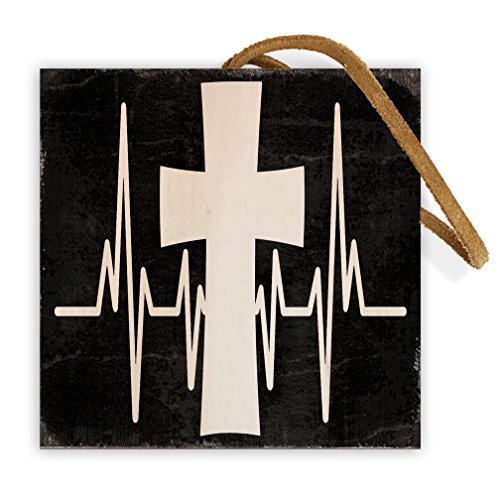 Cross Heartbeat | 4-inch by 4-inch | Christian Inspirational Message on Wood Block