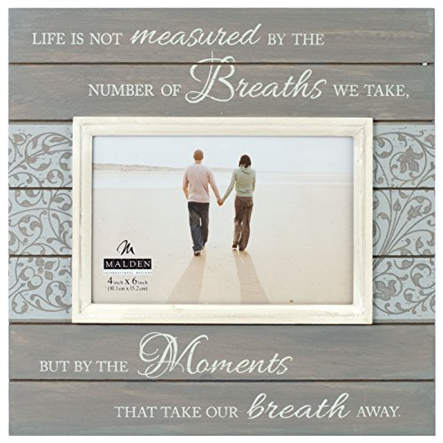 Malden International Designs Sun Washed Woods Moments Distressed Grey Picture Frame, 4x6, (Personalized Collage Frame)