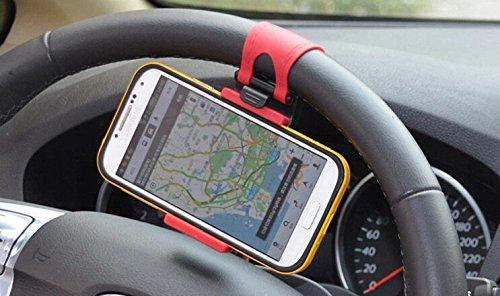 JessicaAlba Universal Cell Phone Car Mount Holder on Steering Wheel Better View & Buckle Clip Hands Free For VW Volkswagen Golf 6 GTI Tiguan Passat B7 Jetta MK6 ()