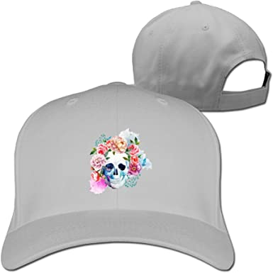 Rose Surround Skull Unisex Sandwich Snapback Cap Solid Color Hats