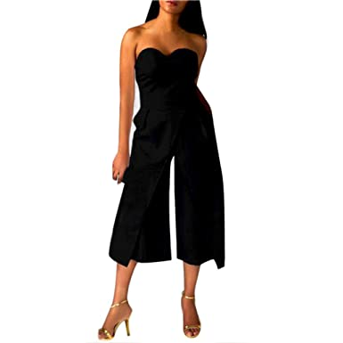 Teresamoon Sleeveless Playsuit, Women Ladies Clubwear Playsuit Bodycon Party Jumpsuit (Black, S)