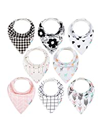 ALVABABY Bandana Drool Bibs 8 Pack of Drooling Teething Feeding,Super Absorbent Cotton&Polyester For Boys&Girls Newborn Infant Toddler Baby Thin Bandana bib Gifts S-SKX07-CA