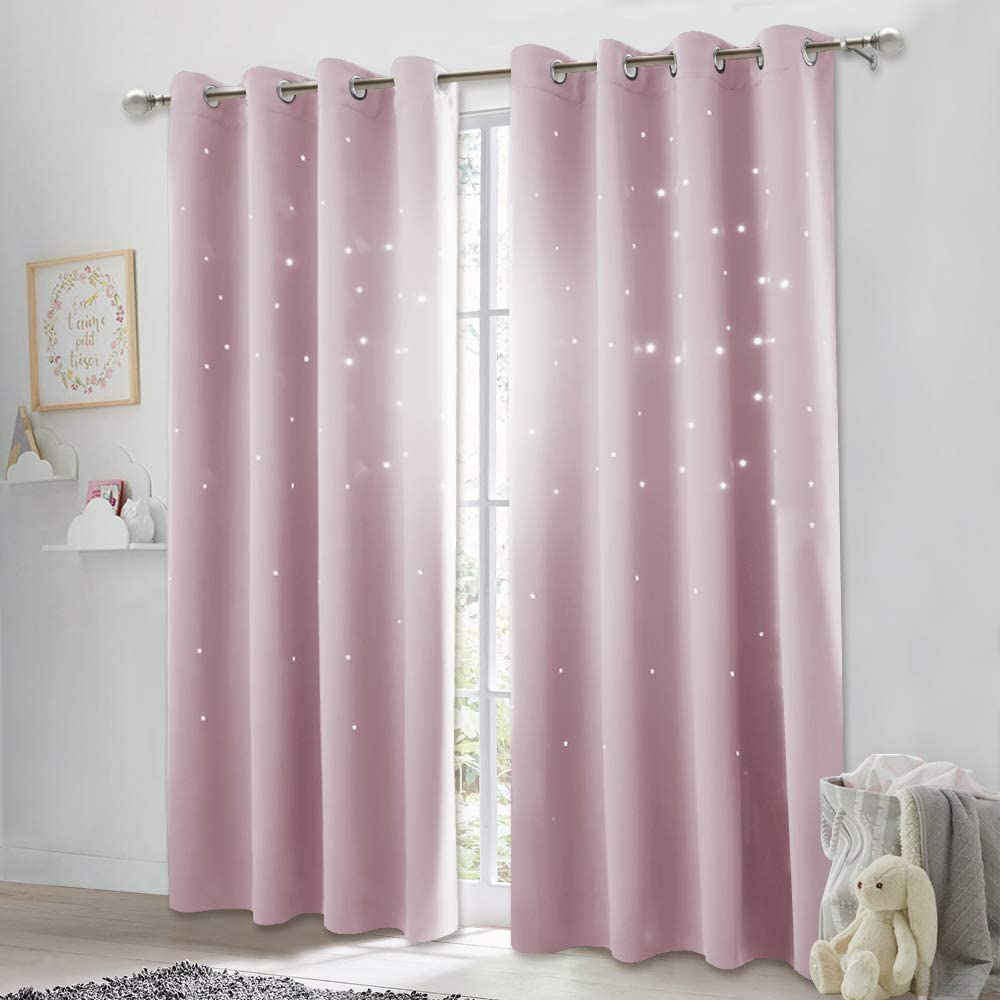 1 Panel,52W x 63L, Greyish White NICETOWN Room Darkening Curtain Panel Kids Curtains Drape with Twinkle Hollow Star Laser Cut Out Design Window Treatment for Nursery//Kids Bedroom