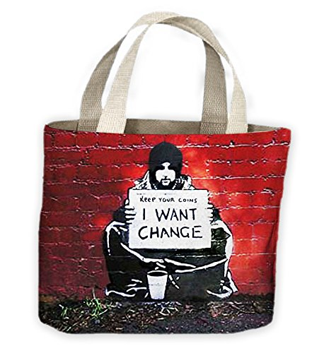 Tribal T-Shirts Banksy Keep Your Coins I Want Change Tote Shopping Bag For Life