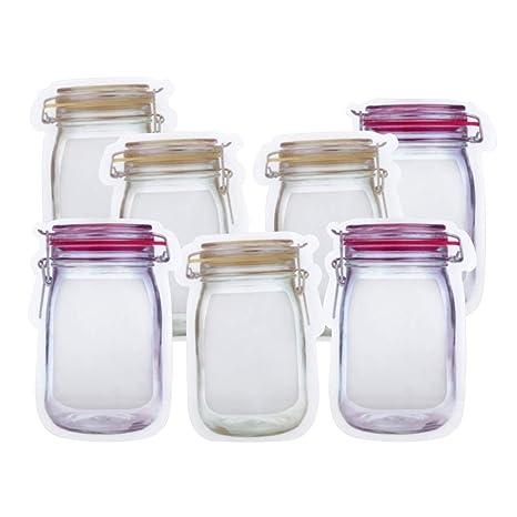 Ahorra espacio Bolsas de almacenamiento de alimentos con cremallera, bolsas de bocadillos de almacenamiento de alimentos reutilizables, forma de tarro ...
