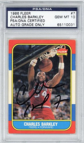 finest selection a76ac 30efe Charles Barkley Signed Autographed 1986 Fleer  7 Basketball Card PSA DNA 10  Auto