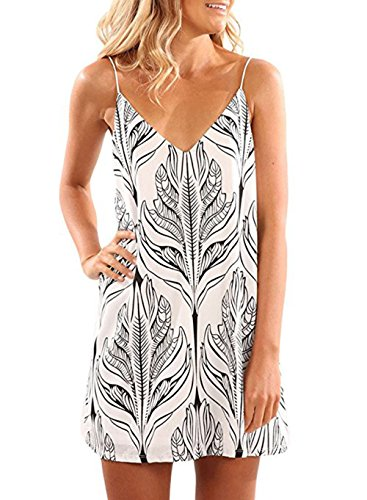 Hount Women Bohemian Vintage Printed Summer Shift Dress (Large, White) (Dress Shift Sleeveless Halter)