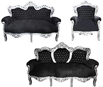 Casa Padrino Barock Wohnzimmer Set \'King\' Schwarz/Silber - 3-er Sofa ...
